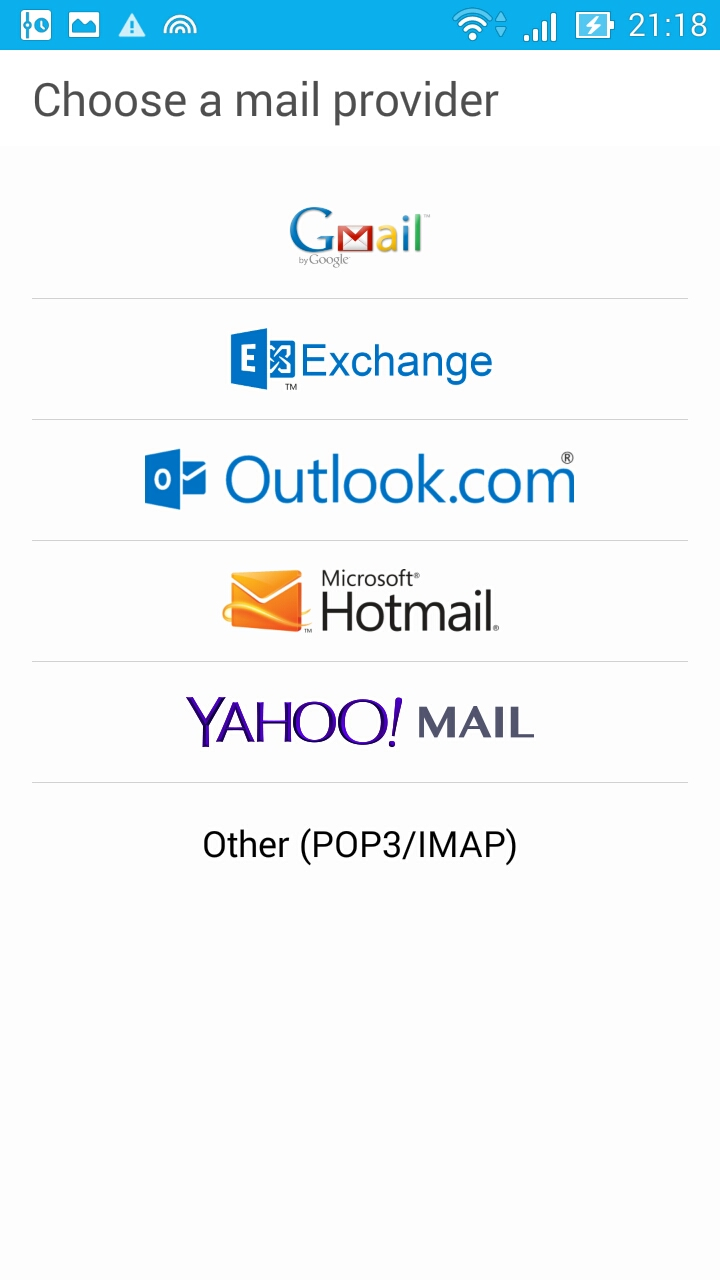 Choose Email Provider
