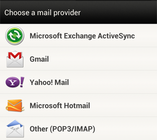Choose Mail Provider Option