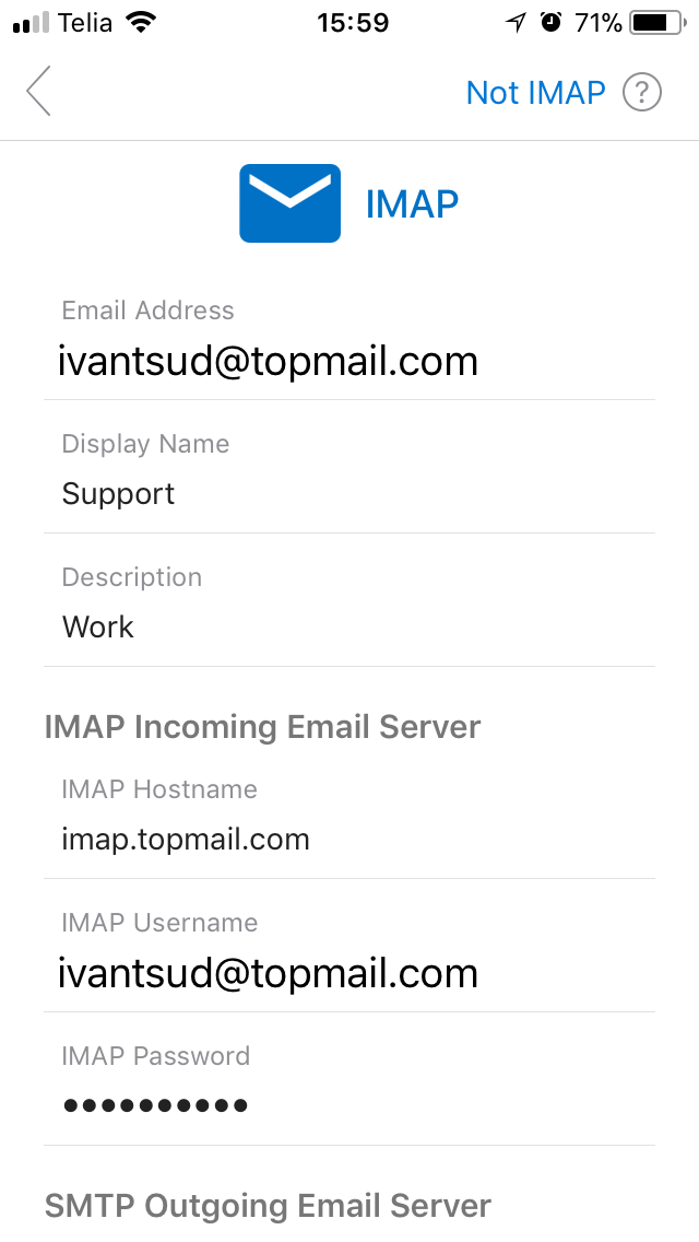 IMAP Settings Screen